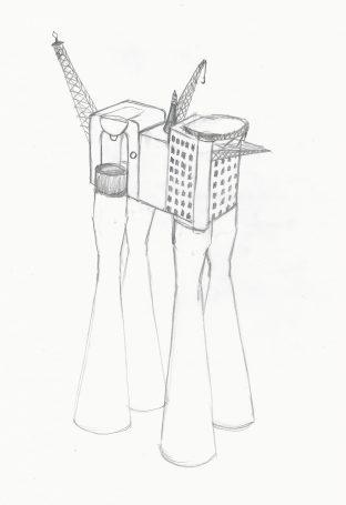 """Skisse kaffemaskinoljeplattform """"Heimevernet"""""""